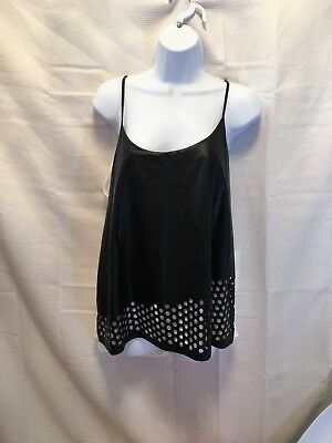 Boundary womans large tank top black faux leather front and  cream sheer back