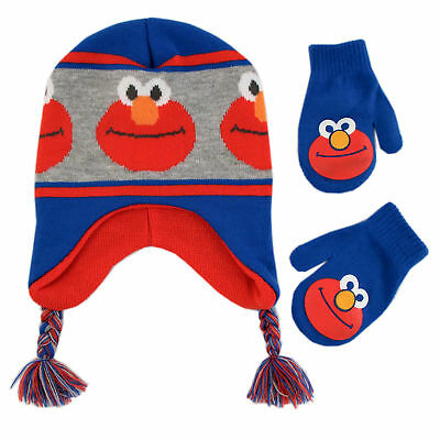 Sesame Street Elmo Hat and Mittens Cold Weather Set, Toddler Boy, Age 2-4