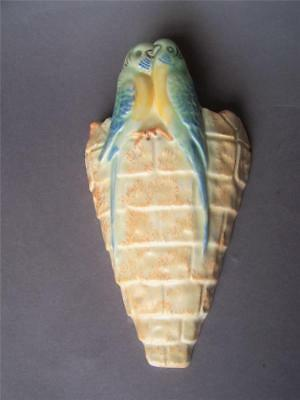 KENSINGTON WARE Wall Pocket in Stone Wall Effect with Two Blue Budgies
