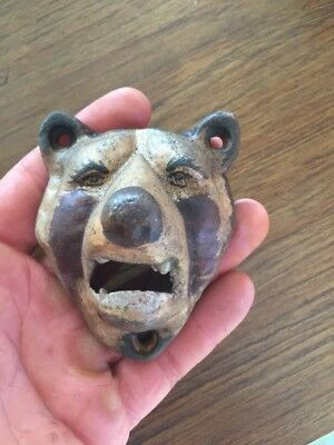 Cast Iron Beer Bottle Opener Masters Brewery Antique Style Grizzly Bear vg