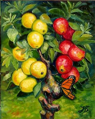 "Butterfly Teasing Apple Tree 20X16""Original Oil Hand Painting Impasto N. Bykova"