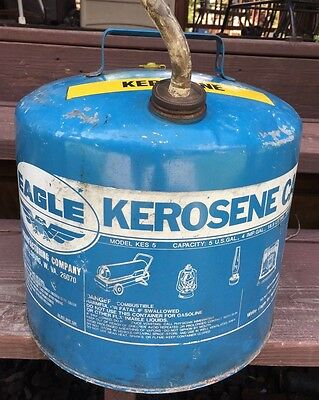 Vintage Metal Eagle Kerosene Can 5 Gallon Can Eagle Mfg Co Made In Usa Blue Can