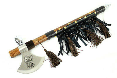 "19"" Decorative Indian Face Blade Tomahawk Peace Pipe Ax Hatchet Axe -"