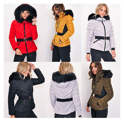 4f41daa03 NEW LADIES QUILTED Padded Puffer Bubble Fur Collar Warm Thick Womens ...