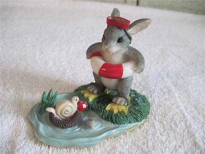 Charming Tails Come In Waters Fine Figurine Bunny Rabbit In Beach Outfit Snail