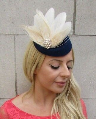 Navy Blue Cream Ivory Pearl Feather Pillbox Hat Hair Clip Fascinator Races 6213