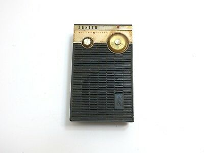 Vintage Zenith Royal 265 Transistor Am Radio In Black With Gold Case