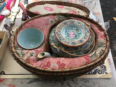 Vintage Chinese Porcelain Travel Picnic Tea Set in Woven Basket Circa 1920