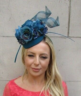 Teal Dark Turquoise Blue Rose Flower Feather Hat Fascinator Races Wedding 6215