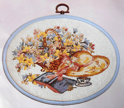 Basket of Flowers, Hat, Book- Hazy Days –  Avon embroidery kit with frame