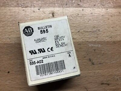 1 New in box Allen Bradley 595-A02 auxiliary contact BUL 592  1 N.O.  size 0-2
