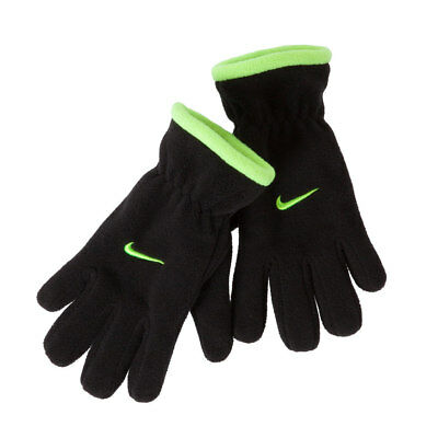 NIKE Black with Volt Fleece Gloves NWT Fit Youth Sizes 8-20 FREE SHIPPING