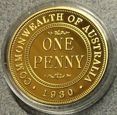 Anniversary 1930 Australia Penny finished in 24k Plated Gold Collector Medallion