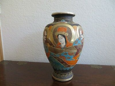 "Old Vintage Japan Satsuma Style Moriage Immortals Hand Painted Vase 11 3/4"" Tall"