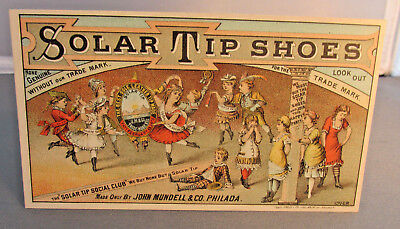 1880s-90s FORT WAYNE INDIANA Trade Card, SOLAR TIP SHOES, Carnahan, Hanna & Co