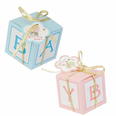 50x Baby Shower Candy Box Sweet Gift Boxes Baptism Party Favour Christening