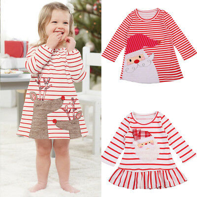 Toddler Kids Baby Girl Strip Xmas Dress Long Sleeves Tops Shirts Outfits Clothes
