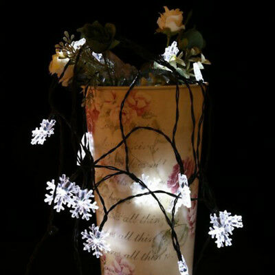 Solar 30-LED Snowflake Outdoor Christmas Garden Warm Lamp String Light Joyful