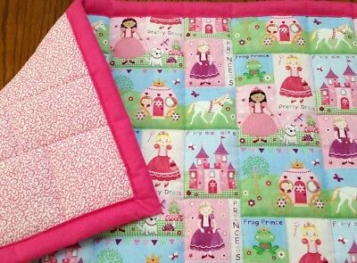 """NEW HANDMADE """"FAIRY TALE PRINCESS """" 34 x 44in COTTON GIRLS QUILTED BLANKET- GIFT"""