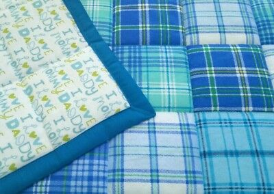 HANDMADE BLUE/TURQUOISE SQUARES, 34X42in BABY/TODDLER FLANNEL QUILTED BLANKET