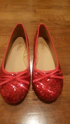 Red Glitter Dorothy Wizard Oz Ruby Slippers Women's Size 7/8 Costume Flats woman