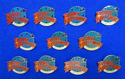 Worldwide Collection of 11 Planet Hollywood Restaurant Lapel Pins Hong Kong +