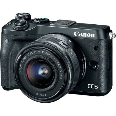 New CANON EOS M6 Mirrorless Digital Camera with 15-45mm Lens - BLACK