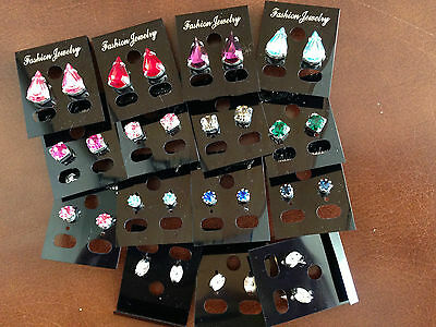 JOB LOT-12 pairs of 3 different styles  colour diamante stud earrings.