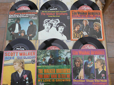 """6x The Walker Brothers Beat 60er top Star Club Philips sun shine anymore 7"""""""