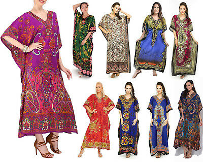 Pack Of 10 Long Beach Maxi Wholesale Kaftan Silky Dress Assorted Colors One Size