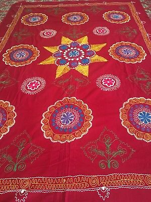 Old Uzbek Antique Vintage Original100% Wall Hanging Tablecloth Embroidery Suzani