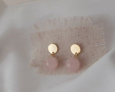 925 Solid Sterling Silver Ear Studs Earrings Rose Quartz Gold Plated