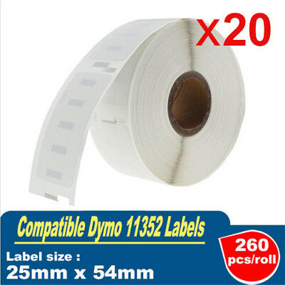 20x 260pcs Labels for Dymo / Seiko 11352 25mm x 54mm Labelwriter 450/450 Turbo
