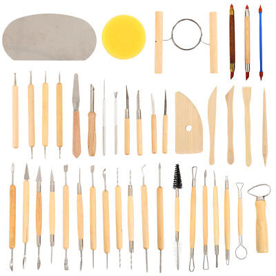 42pcs Wood Polymer Pottery Clay Sculpting Carving Tool Modelling Craft DIY Set