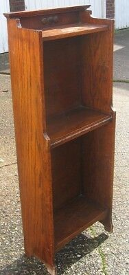 Antique oak Arts and Crafts slender Victorian open bookcase 1890