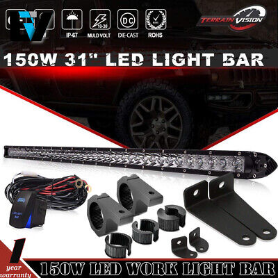 31'' Combo 150W Cree Led Work Light Bar Single Row Slim 4D Len Lamp Atv 31/32