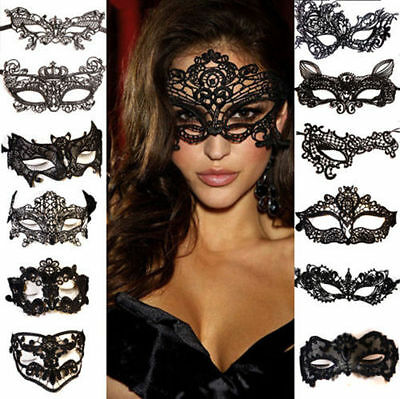 Sexy Women Black Lace Eye Face Mask Masquerade Prom Halloween Hen Party Props