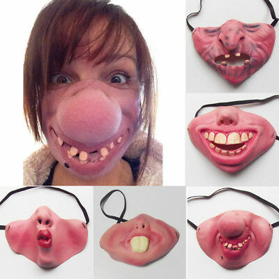 Funny BUNNY Adult Gag-LATEX HALF FACE MASK-Poker Halloween Costume Party Masks