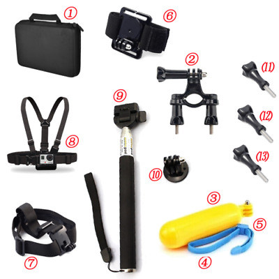 11 in 1 Carry Bag Head strap Accessories Kit For GoPro Hero 4 Monopod Mount