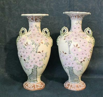 Beautiful Pair Of Antique Japanese Nippon Moriage Noritake Vases