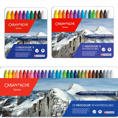 Caran D'Ache Neocolour II Watersoluble Crayons Set Assorted 10 15 30