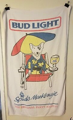 "Vintage SPUDS MACKENZIE Bud Light Beach Towel 34"" X 58"" ~ FAST SHIPPING! A"