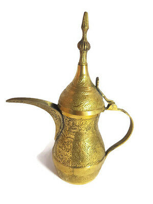 Vintage Brass Copper Arabic Middle Eastern Dallah Bedouin Engraved Coffee Pot