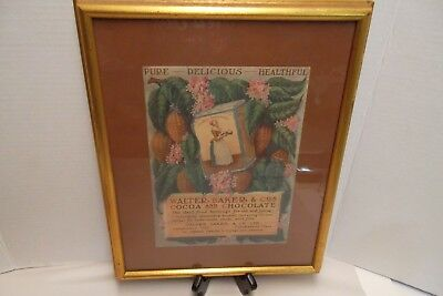 Vintage Framed Print Walter Bakers LaBelle Chocolatiere Advertising Print 15x12