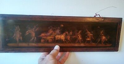 Antique Italian Bacchanalia Marquetry Picture ~ Inlaid Wood Panel Satyrs Nudes