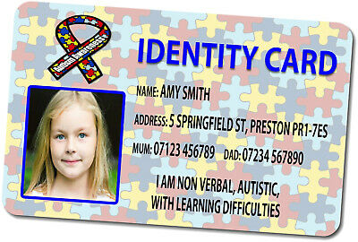 Personalised Disability Identity Card (PVC Plastic)  - FREE Design & Postage