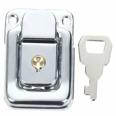 Silver Tone Stainless Steel Suitcases Case Box Hasp Latch Lock w Key S3I9