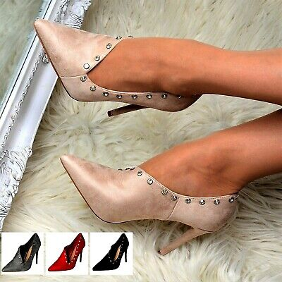 New Womens High Stiletto Heel Shoes Faux Suede Studs Pointed Toe Sexy Pumps Size