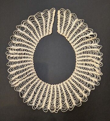 """Antique Victorian Handmade Crocheted Spider-web Lace Collar 19"""" x 3""""wide #2"""