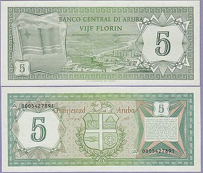Aruba 5 Florin Banknote,1.1.1986 Choice Uncirculated Condition Cat#1-7891
